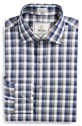 Todd Snyder Trim Fit Check Dress Shirt Blue Stone