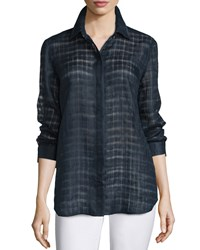 Lafayette 148 New York Brody Sheer Grid Long Sleeve Blouse Women's Iced Mint