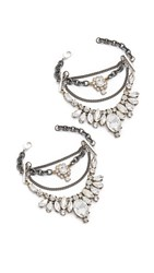 Laura Cantu Embellished Crystal Anklet Set Clear Silver