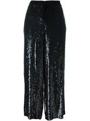 P.A.R.O.S.H. Drawstring Sequined Cropped Trousers Black