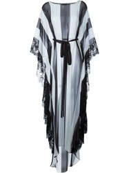 Rosamosario Lace Application Striped Kaftan Black