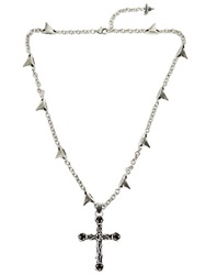 John Richmond Roses And Cross Necklace