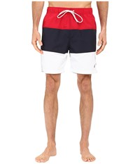Nautica Tri Color Block Trunk Racer Red Men's Swimwear Multi