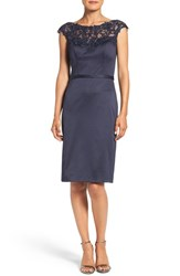 La Femme Women's Embellished Illusion Yoke Woven Sheath Dress Navy