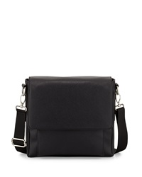 Neiman Marcus Faux Leather Messenger Bag Black