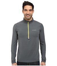 Columbia Trail Flash Half Zip Graphite Acid Yellow Men's Long Sleeve Pullover Gray