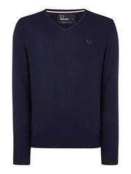 Fred Perry Men's Classic V Neck Pull Over Sweater Dark Blue