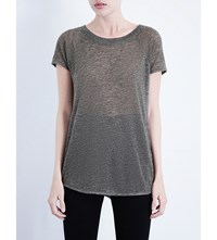 Whistles Mesh Split Back T Shirt Grey