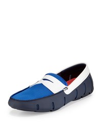 Swims Tricolor Mesh Rubber Penny Loafer Navy