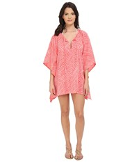 Echo Paradise Weave Kangaroo Poncho Cover Up Bright Coral Women's Swimwear Gray