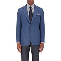 Kiton Men's Basket Weave Two Button Sportcoat Blue