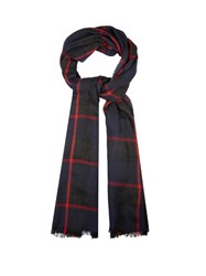 Begg And Co. Orkney Checked Cashmere Scarf Navy Multi