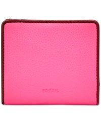Fossil Emma Rfid Leather Bifold Mini Wallet Neon Pink