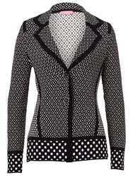 Basler Knitted Cardigan With Diamond Pattern Navy