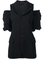 Comme Des Garcons Vintage Sleeveless Jacket With Ruffle Detailing Black