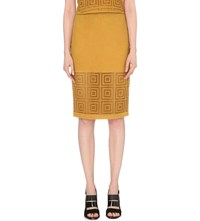 Whistles Limited Perforated Leather Skirt Yellow