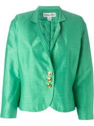 Christian Dior Vintage Brushed Satin Cropped Jacket Green