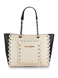 Betsey Johnson Wavy Days Two Tone Tote Cream Black