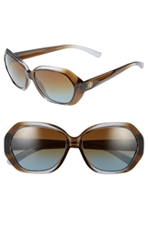 Tory Burch 57Mm Polarized Retro Sunglasses Grey Brown Blue Polar