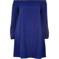 River Island Womens Blue Bardot Swing Dress