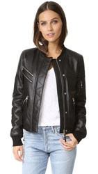Generation Love Gigi Leather Puffer Bomber Black