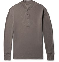 Bottega Veneta Brushed Cotton And Modal Blend Henley T Shirt Mushroom