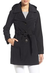 Women's London Fog Belted Double Collar Coat With Hood Black
