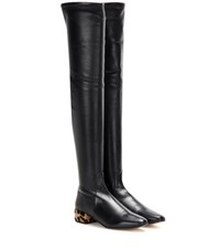 Francesco Russo Calf Hair Trimmed Leather Over The Knee Boots Black