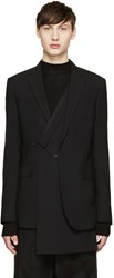 D.Gnak By Kang.D Black Wool Layered Double Blazer