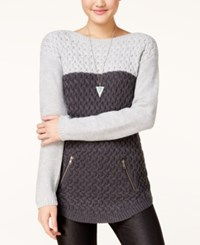 It's Our Time Juniors' Colorblocked Tunic Sweater Dark Grey