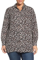 Foxcroft Plus Size Women's Blurred Print Long Sleeve Blouse