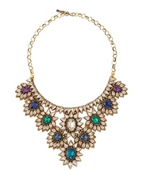 Deepa Gurnani Crystal Draped Flower Bib Necklace