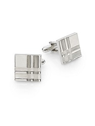 Saks Fifth Avenue Etched Square Cuff Links Silver