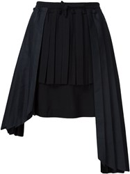 Off White Pleated Panel Skirt Black