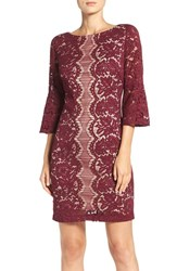 Gabby Skye Women's Bell Sleeve Sheath Dress Wine Nude