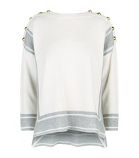 Alexander Mcqueen Buttoned Shoulder Cashmere Sweater Female Ivory