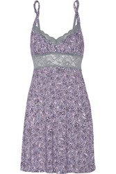 Cosabella Lace Trimmed Printed Stretch Jersey Chemise Multi