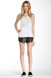 Boy Meets Girl Game On Perforated Faux Leather Short Black