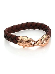 John Hardy Classic Chain Woven Leather And Bronze Eagle Bracelet Brown Bronze