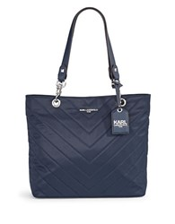 Karl Lagerfeld Quilted Chevron Nylon Tote Navy