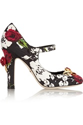 Dolce And Gabbana Embellished Floral Print Brocade Mary Jane Pumps