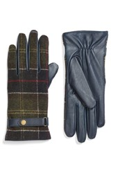 Barbour Women's Tartan Plaid And Leather Gloves Navy Classic