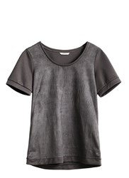 Sandwich Perforated Suede T Shirt Grey