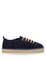 Manebi Hamptons Lace Up Suede Espadrilles Blue