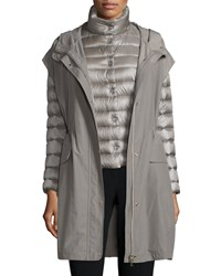 Peserico Three In One Puffer Jacket W Vest Dark Taupe