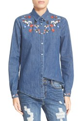 The Kooples Women's Embroidered Long Sleeve Denim Shirt