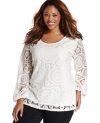 Ing Plus Size Long Sleeve Lace Top Ivory