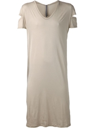 Todd Lynn Long V Neck Slit Sleeve T Shirt Nude And Neutrals