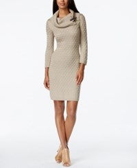 Calvin Klein Textured Cowl Neck Sweater Dress Khaki