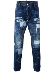 Dsquared2 Patchwork Distressed Jeans Blue